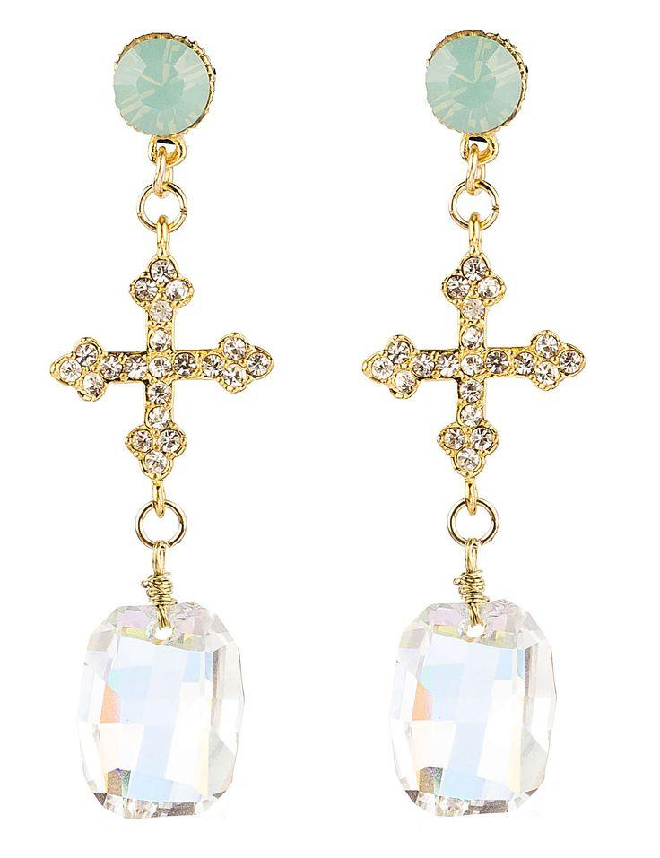 PEZZO UNICO -  Bottone  in cristallo Swarovski, croce in metallo e strass, pendente Swarovski