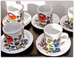 hand painted coffee cup, Hungarian motif