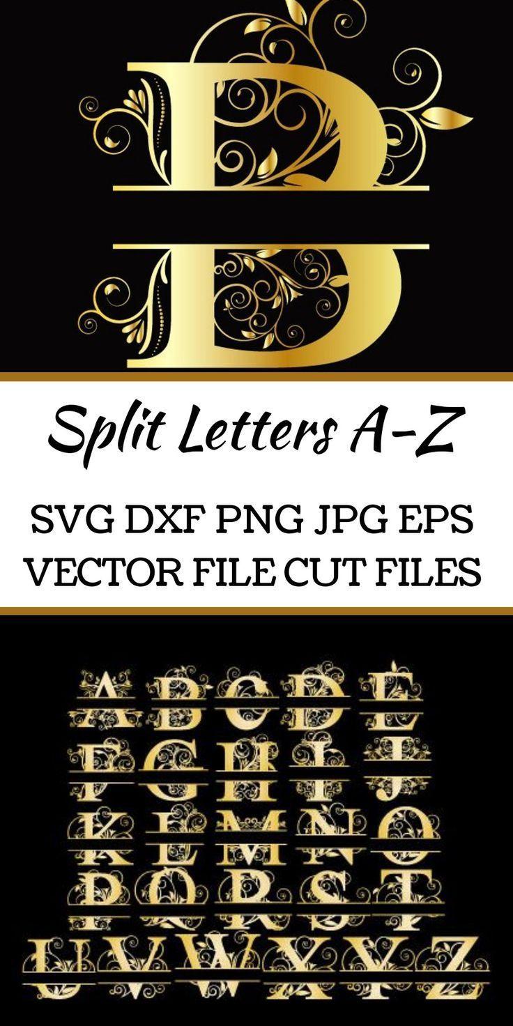 Download Split Letters A Z Svg Vectors Svg Dxf Png Jpg Eps 64129 Monograms Design Bundles Lettering Monogram Letters Monogram Fonts