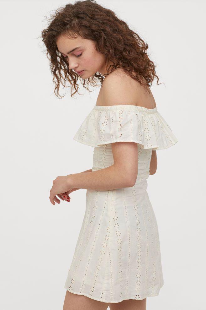 Off The Shoulder Dress Cream Ladies H M Us Dresses White Lace Dress Short Short Lace Dress