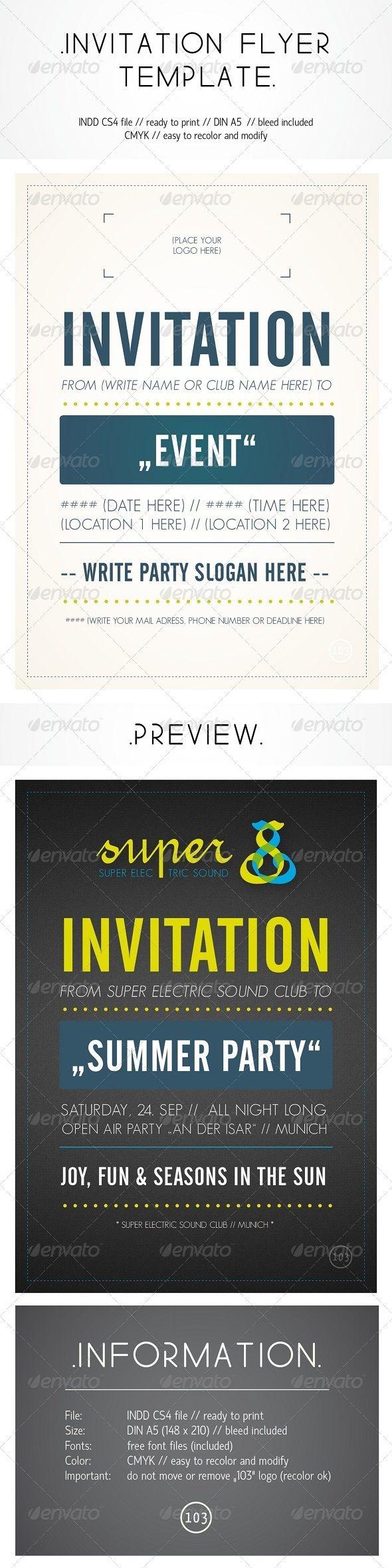 invitation flyer template invitations card template indesign indd download here http. Black Bedroom Furniture Sets. Home Design Ideas