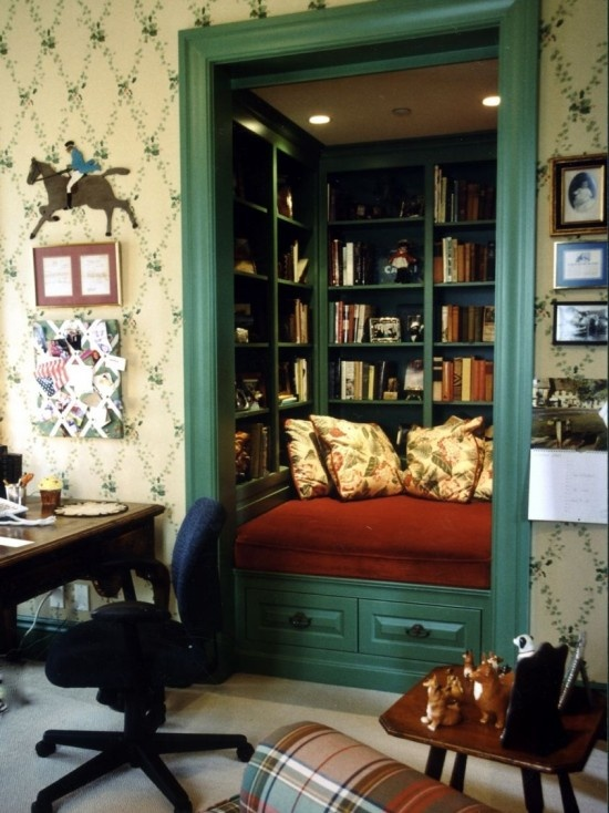 closet turned reading nook. I wouldn't ever ask for anything else if I had this...expect for more books ;)