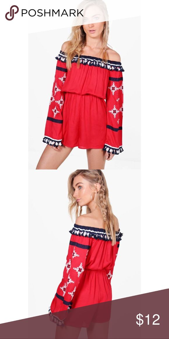 Boutique Laura Embroidered Tassel Playsuit Red white and blue playsuit with embroidered bell sleeves and tassels around neckline and at  end of sleeves Boohoo Dresses