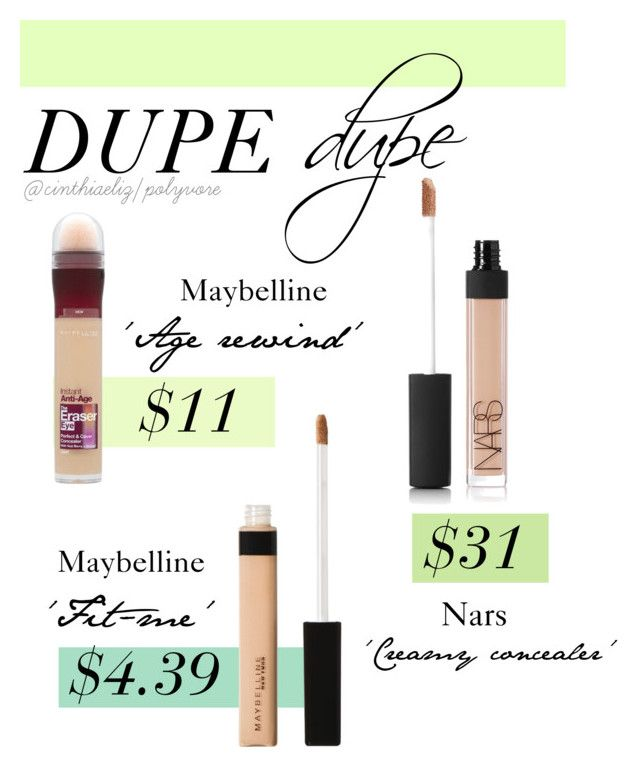 Concealer Dupes by cinthiaeliz on Polyvore featuring polyvore, beauty, NARS Cosmetics and Maybelline