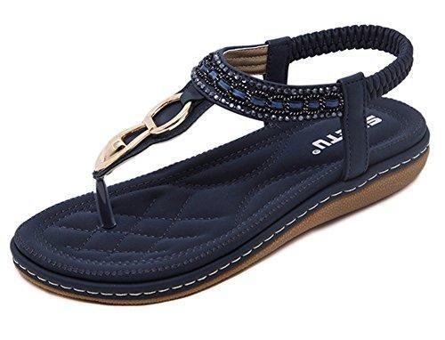 Oferta: 9.92€. Comprar Ofertas de Minetom Mujer Verano Casual Bohemia Clip Toe Zapatos Dulce Diamante De Imitación Chanclas T-Correa Sandalias Tanga Pisos Azul barato. ¡Mira las ofertas!