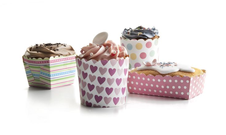 Round, square, rectangular paperboard baking cups. Very cute!!