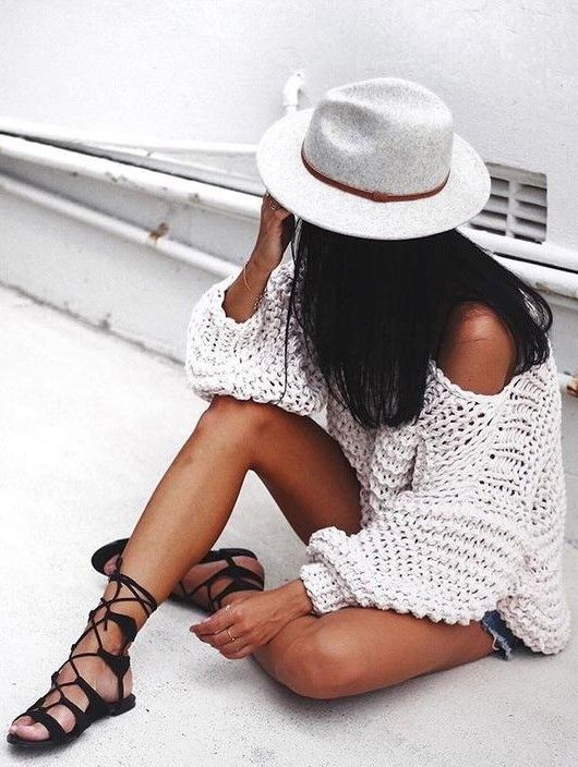 white jumper + denim #cutoffs.
