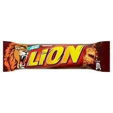 Lion Bar 50G €1.05 Filled wafer with caramel (35%) and cereals (8%) covered with milk chocolate (38%)