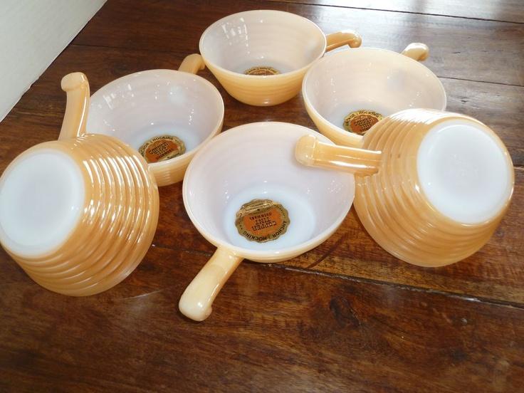 Fire King Copper Tint Ovenware Bowls.: King Copper, Vintage Glassware, Tinted Ovenwar, Sets, Fire King, Depression Glasses, Originals Labels, Copper Tinted, Ovenwar Bowls