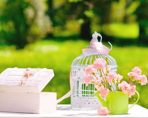 el tema de la boda basado en elementos para organizar una boda vintage que consiste en utilizar componentes decorativos con aires antiguos o del pasado ¿Lo más representativo? Colores pastel, centros de mesa con bases de cristal cortado, jaulas de pájaros colgantes, velas en candelabros etc.