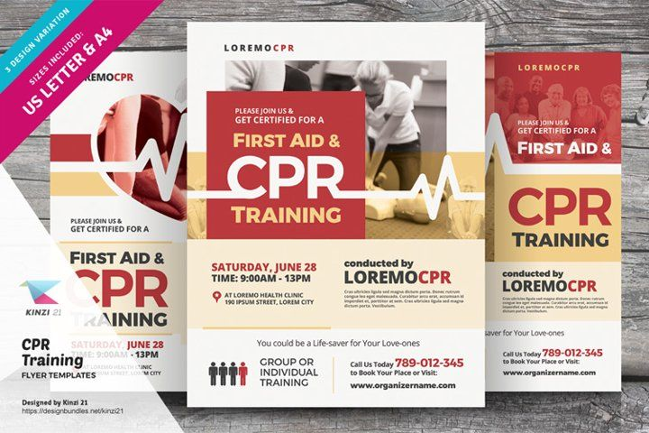 Cpr Training Flyer Templates 642355 Flyers Design Bundles Cpr Training Flyer Flyer Template