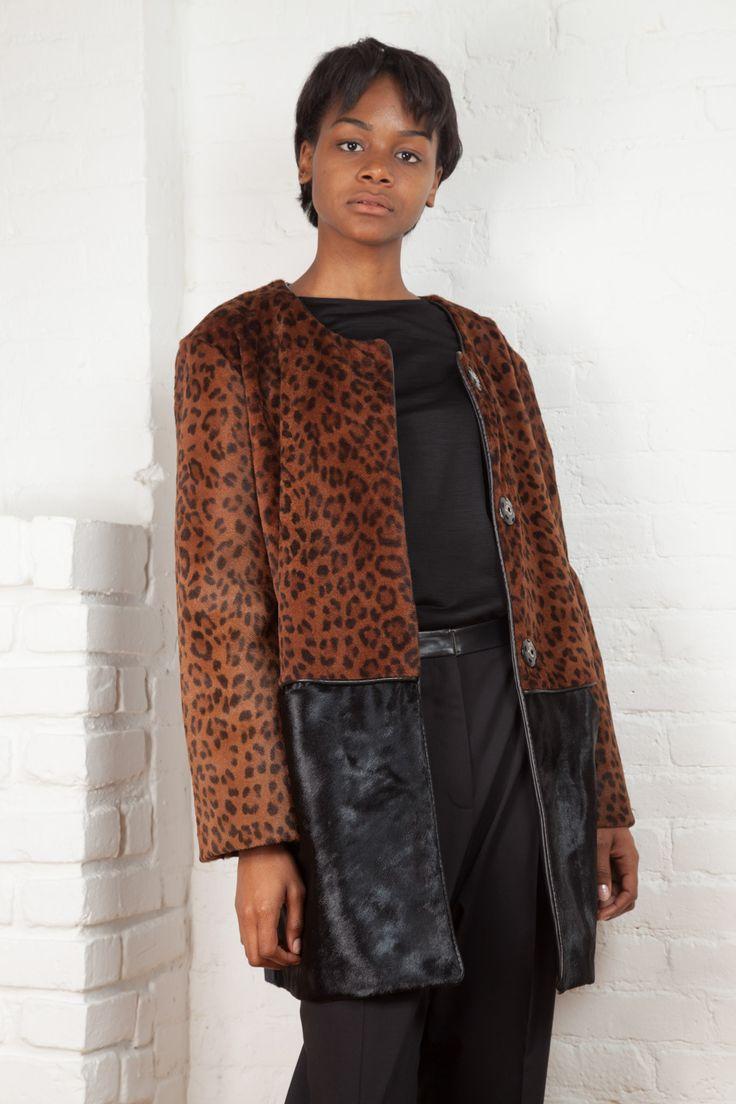 Leopard Shearling and Calf Hair Coat