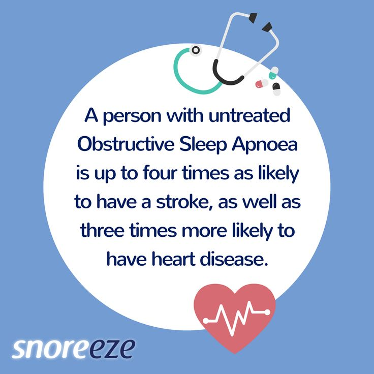 A person with untreated sleep apnea (OSA) is 4 times more likely to have a stroke and 3 times more likely to have heart disease.