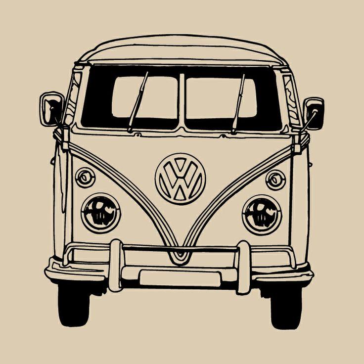 vw camper van bus vinyl wall art sticker transfer home decor decal ve021 kombis oldtimer und. Black Bedroom Furniture Sets. Home Design Ideas