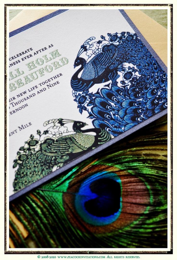 50 Custom Designed ALEXANDRA Lovebirds Peacock Themed Wedding Invitations. $345.00, via Etsy.