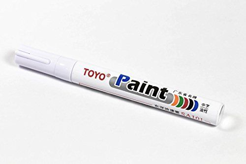 TOYO Marqueur permanent toutes surfaces (Pneu, Carrosserie, Plastique, Métal, Verre, Cuir…) – Peinture à l'huile indélébile – Résiste aux…