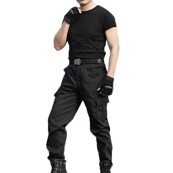 Mens Quick-drying Scratch-resistant Multi Pockets Cargo Pants Solid Color Outdoor Pants