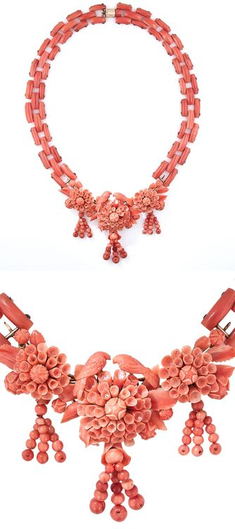 From mid-19th century Italy comes this antique coral necklace. The centerpiece is comprised of 3 flower blossoms, each of which is composed of individually hand carved petals and leaves. The three blossoms support fanciful beaded tassels dancing below and the central flower is crowned by a pair of finely carved love birds. The necklace portion is crafted in two parts (which detach from the center) and is composed of gently rounded geometric links to create a natural curve.  At Lang Antiques.