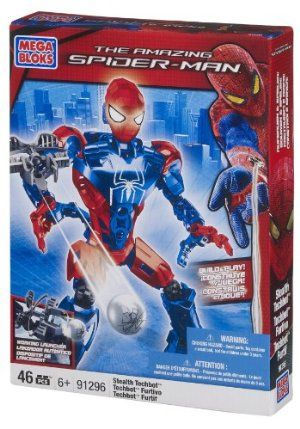 """Mega Bloks Stealth Spiderman Techbot by Mega Bloks. $19.98. 10"""" fully poseable Techbot with disk launcher that really fires. Includes 46 buildable pieces that turn into Stealth Spider-Man. Interchangeable parts ? build your own custom Techbot for any situation. Stand and fight, swing over villains and protect civilians. From the Manufacturer                Mega Bloks – The Amazing Spider-Man – Stealth Spider-Man Techbot. Save the day with the Stealth Spider-Man Techbot by M..."""