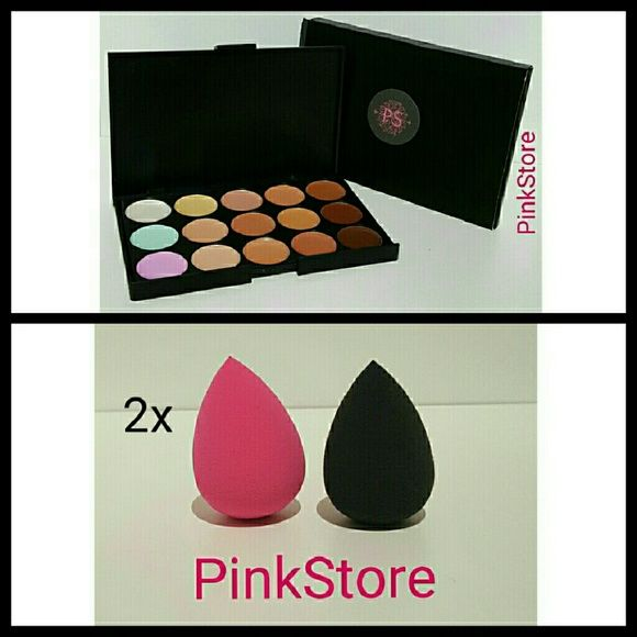 Contour/Concealer Palette + 2 Blenders New *****Please Read Before Purchasing*****  New in Box   1x Contouring Kit   2x Full Size Blender Sponge  15 Different Shades  Other Contour Palette Bundles Options available in my store  Pick Your  Blender Sponge Color*** Let me know before or after you purchase  Colors Available*** -Black -Pink  If you don't pick a color within 24hrs I will ship any color of choice****  All packages are ship via USPS with tracking***  Price is Firm*** (Please Don't…