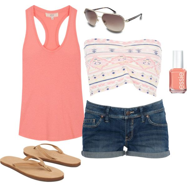 d28146ea768  summer  outfits   Peach Tank Top + Bandeau Top