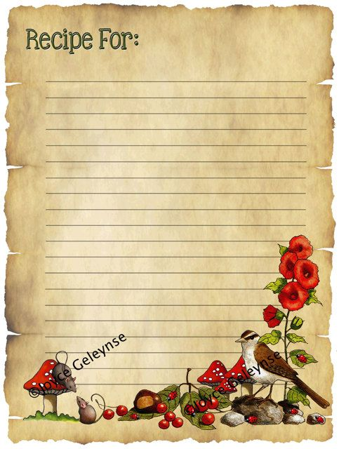 Printable Recipe Card Old Parchment Freehand by JoyfulArtImages, $4.00