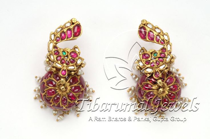 Indian Jewellery and Clothing: Antique temple designs of jhumkas made of dull gold and studded with rubies and emeralds
