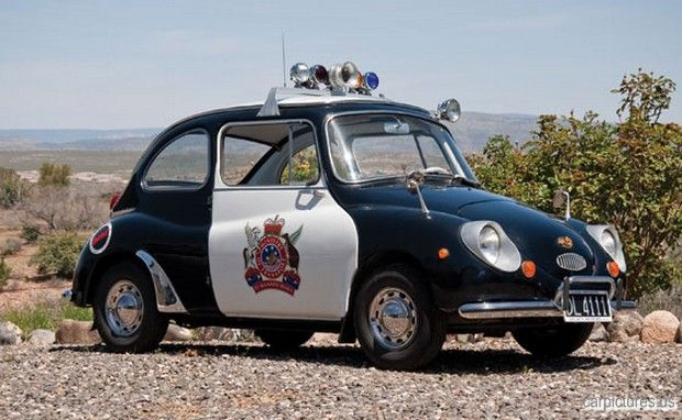 "1970 Subaru 360 Police Car | Car Pictures.....Pretty funny, keep in mind that the ""360"" was the engine size in cubic centimeters. About the size of the smallest medium sized motorcycle. also they were a 2 stroke motor an smoked like hell!"