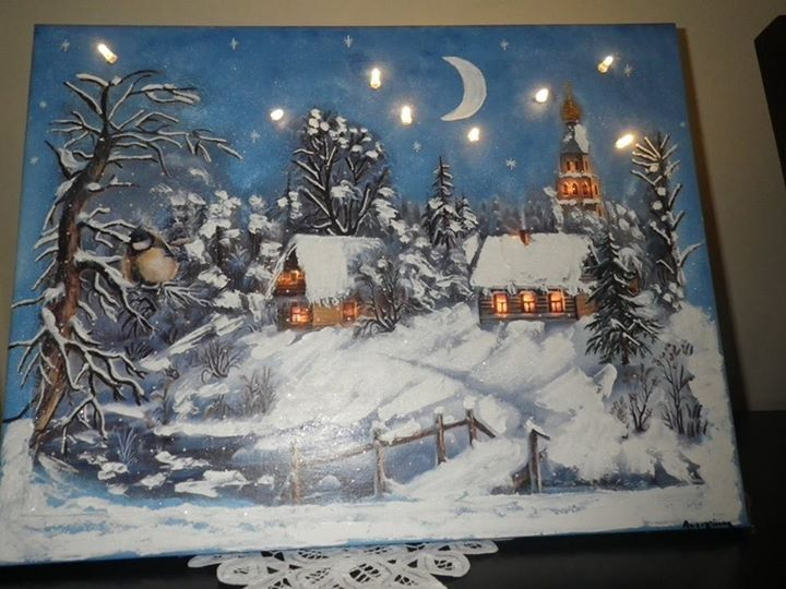 Christmas canvas, painting and decoupage, with effect stone and lights