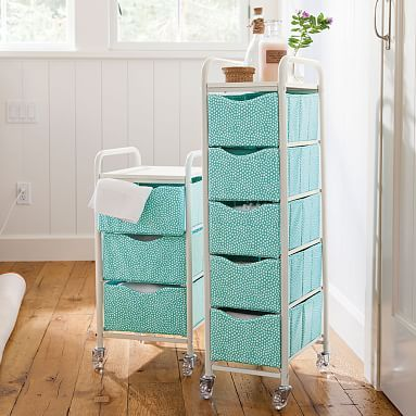 Turquoise Dot 3 Drawer Ready-To-Roll Storage Cart #pbteen