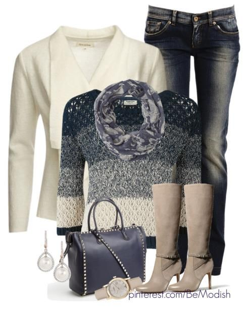 Winter Fall Outfits Paris Style - cream and blue - love the sweater!
