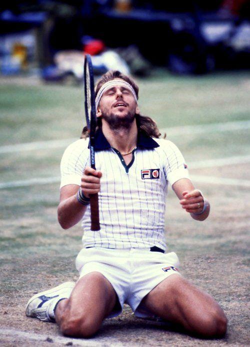 Bjorn Borg celebrates his 5th Wimbledon title, 1980.  #tennis