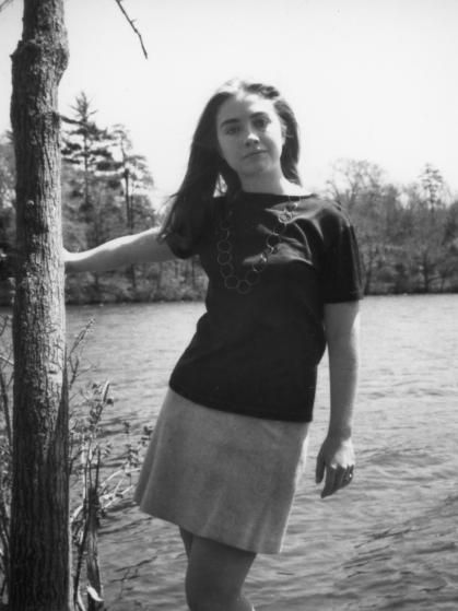 Hillary at Lake Waban on the Wellesley College Campus, 1969.