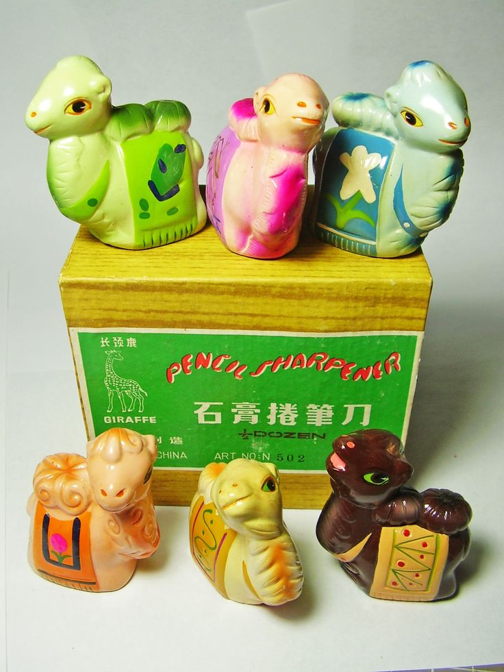 FOR SALE !  6 camels  VINTAGE Chinese CHALKWARE clay CERAMIC figural PENCIL SHARPENERS ! http://www.ebay.com/sch/mypinkturtle/m.html?_ipg=50&_sop=12&_rdc=1