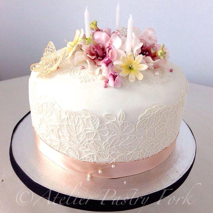Pastel Goth Lace Cake