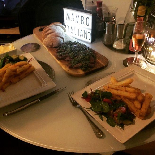 bavette steak with salsa verde, twice-fried chips, artichoke salad and ciabatta bread | Greedy Girl Grub