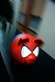 Resultado de imagen para alcancias de cerdito hombre araña