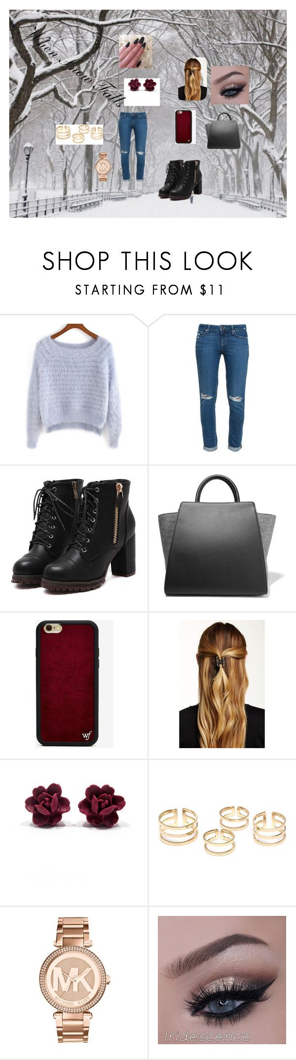 """Untitled #101"" by rosesanders on Polyvore featuring Paige Denim, ZAC Zac Posen, Wildflower, Natasha Accessories and Michael Kors"