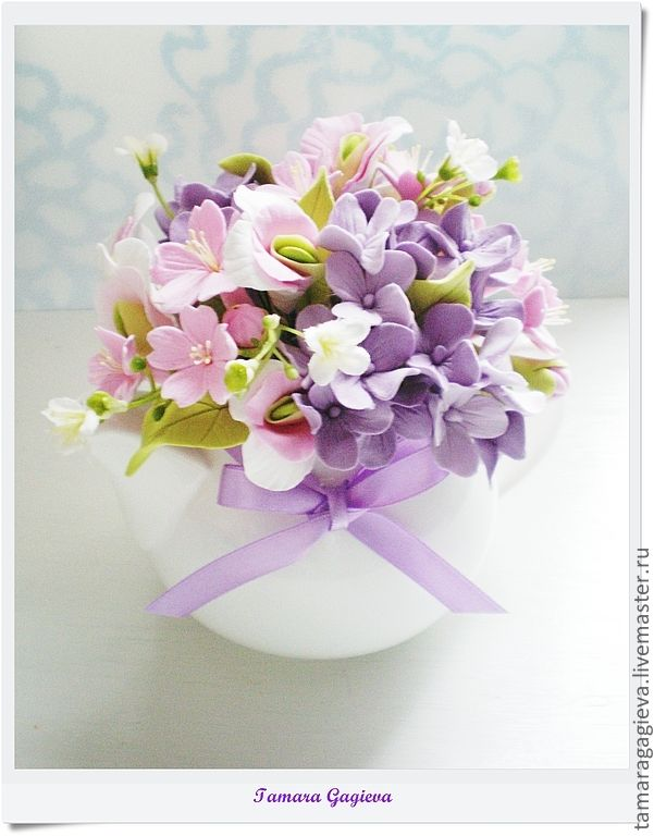 Купить Нежные цветочки в чайничке - сиреневый, цветы ручной работы, цветы из полимерной глины, гортензия
