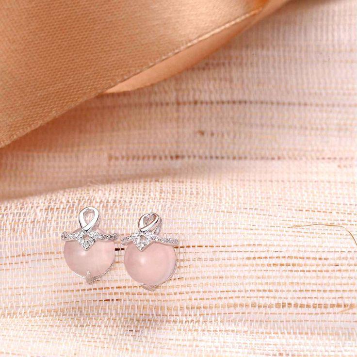UneJoux Sterling Silver Earrings With Ross Quartz - UneJoux