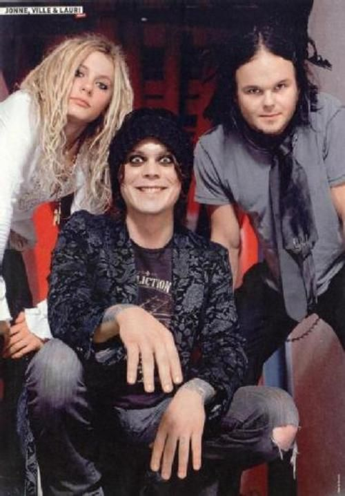 Look at them being fabulous together! Lauri Ylonen of The Rasmus, Ville Valo of HIM, and Jonne Aaron of Negative.