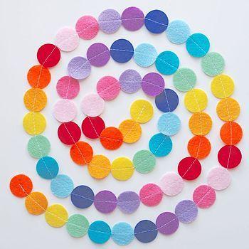 Rainbow Felt Circle Garland
