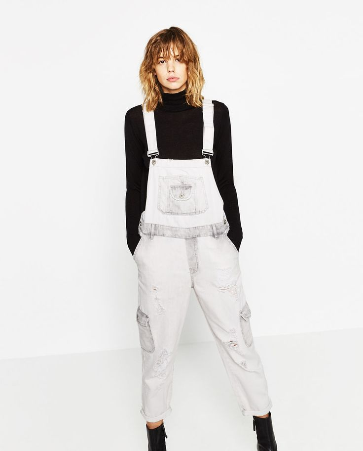 SUPER BLEACH CARGO STYLE DUNGAREES-JUMPSUITS-WOMAN | ZARA United Kingdom