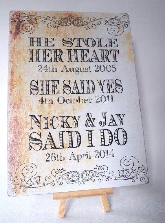 Shabby Chic Wedding Sign Vintage Style Plaque by OnceUponASignUK, £6.99
