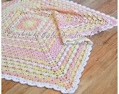 OOAK Peach Yellow crochet baby blanket - Crochet afghan baby gift  - Ready to ship