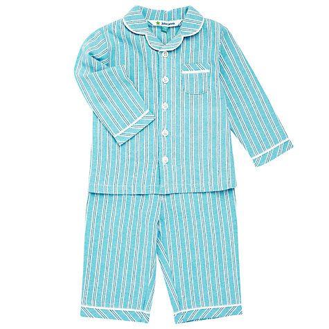 Buy John Lewis Baby Stripy Cotton Pyjamas, Blue Online at johnlewis.com