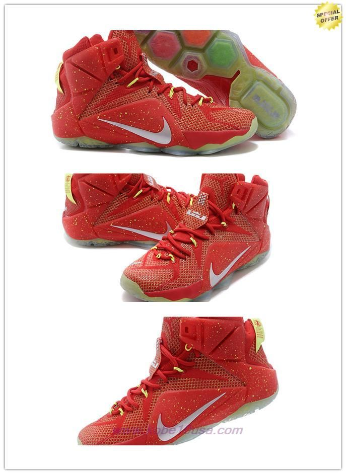 Discount Shoes Online Mens Nike Lebron 12 P.S. Elite 684593-020 Red/Gold/Green