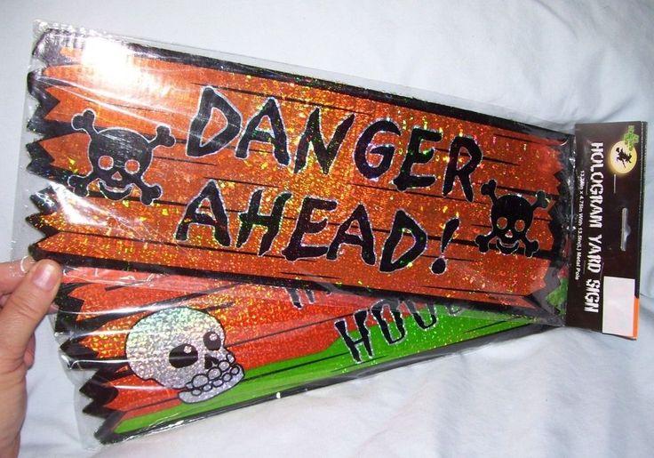 (2) Halloween Hologram Yard Signs Cardboard DANGER AHEAD & HAUNTED HOUSE