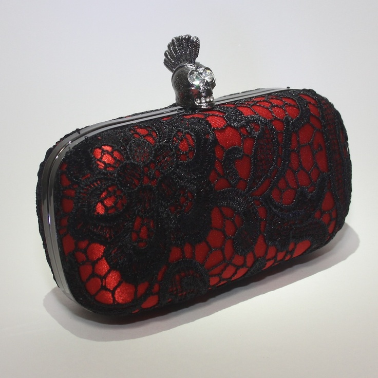 When wearing a simple dress in one of the new season colours, let your personality shine through with your accessories - like this Ada Lace Box Clutch from Trend Station. It's crimson and black lace design will complement so dresses, while the embellished skull clasp add a touch of fun!  http://www.trendstation.com.au/collections/skull-clutches