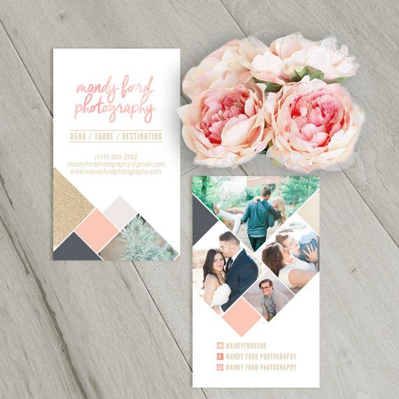 24 best wedding photography marketing sets images on pinterest business card template with watercolor geometric pattern flashek Images